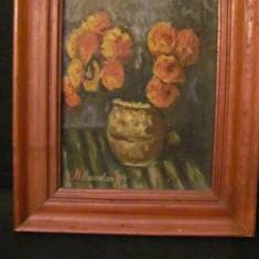 """PVM  - Tablou foarte frumos """"Vas cu Flori"""" ulei pe carton semnat Mandan '84"""