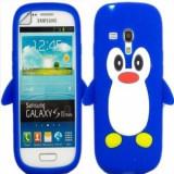 Husa silicon pinguin albastru Samsung Galaxy S3 Mini i8190  + folie protectie cadou