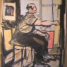 Acuarela pictor Corneliu Vasilescu - pictura tablou desen, Portrete, Altul