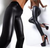 Colanti piele latex PU pantaloni luciosi wet look piele skinny, Negru, Normali