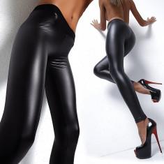 Colanti piele latex PU pantaloni luciosi wet look piele skinny - Colanti dama, Marime: Marime universala, Culoare: Negru, Normali
