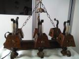 Cumpara ieftin Deosebit candelabru vechi din lemn masiv si fier forjat, are sase brate, model unicat, functionabil, cantareste 8 kg, de colectie/decor.