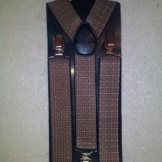 Bretele elastice late cu patratele maro. - Bretele Barbati