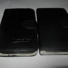 HUSA protectie FLIP COVER + cadou FOLIE protectie ORANGE HIRO inchidere magnetica - Husa Telefon Accessorize, Negru, Piele, Cu clapeta