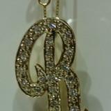 Pandativ aur 14k cu diamante litera R - Pandantiv aur