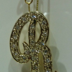 Pandativ aur 14k cu diamante litera R