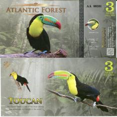 ATLANTIC FOREST- 3 AVES DOLLARS 2015- UNC!! - bancnota america
