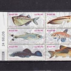 BRAZILIA 1988 - PESTI EXOTICI, BLOC de 6 nestampilat, B26