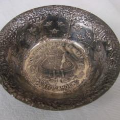 Superb vas din alama argintata, inscriptionat Olympiska Spelen 1912 Stocholm