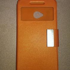 Husa Htc One m7 flip Rock Design - Husa Telefon HTC, Portocaliu, Cu clapeta