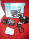 Aparat Foto cu film :  Nippon 35mm focus free Camera cu blitz electronic  husa  si cutie originala anii '50- nefolosit