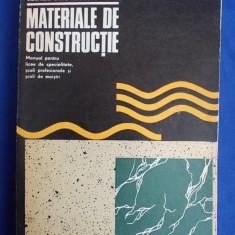 NICOLAE NICOLESCU - MATERIALE DE CONSTRUCTII * MANUAL LICEE SPECIALITATE,SCOLI PROFESIONALE SI SCOLI DE MAISTRI - BUCURESTI - 1973
