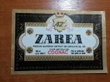 Eticheta veche cognac zarea 1975
