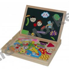 Tabla din lemn cu doua fete si simboluri magnetice