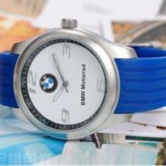 Ceas model BMW motorrad curea silicon albastru deschis cutie simpla cadou
