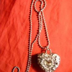 Ceas -Pandantiv sau de buzunar -Chaoya Quartz -cu capac -metal si cristale roz - Ceas de buzunar
