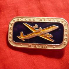 Insigna Avion IL 18 , L= 4 cm , metal si email
