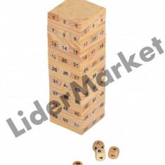 Joc jenga din lemn cu 4 zaruri 16.5 x 5cm - Jocuri Logica si inteligenta