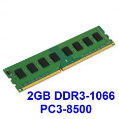 2GB DDR3-1066 PC3-8500 1066MHz ,  Memorie PC Desktop DDR3 Testata cu Memtest86+, DDR 3, 2 GB