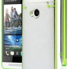 Husa rigida transaparenta Htc One M7 cu margine bumper + folie protectie - Husa Telefon HTC, Transparent, Plastic