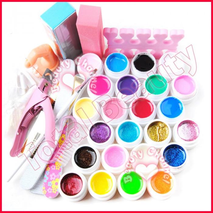 Kit unghii false cu 24 geluri colorate si cu sclipici accesorii manichiura