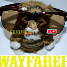 Ochelari de soare wayfarer clubmaster RAY BAN+ saculet - Ochelari de soare Ray Ban, Unisex, Maro, Plastic