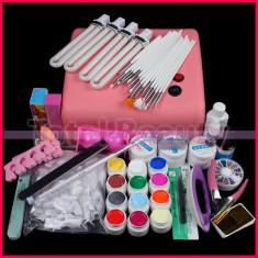 Kit profesional gel UV lampa UV 36W 12 geluri colorate 15 pensule manichiura Sina