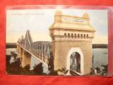 Ilustrata clasica Podul de la Cernavoda- Dobrogea ,cu inscriptia originala, Necirculata, Printata