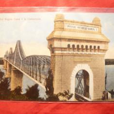 Ilustrata clasica Podul de la Cernavoda- Dobrogea, cu inscriptia originala - Carte Postala Dobrogea pana la 1904, Necirculata, Printata