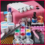 Kit unghii gel lampa UV 36W 12 geluri colorate 7 pensule manichiura accesorii