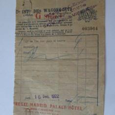 RARITATE! FACTURA WAGON-LITS /VAGON RESTAUR. LINIA GRANDS EXPRESS SATU MARE 1922 - Pasaport/Document