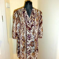 Tunica de voal in nuante de maro, marca HM, femei marimea 32 - Bluza dama H&m, Culoare: Multicolor, Maneca scurta, Casual, Poliester