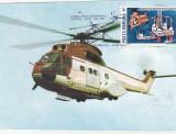 bnk fil Maxima filatelica - Primul zbor aeropstal Medias-Sibiu  IAR-330