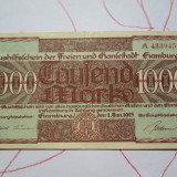 1000 mark 1923 Germania , Notgeld Hamburg marci