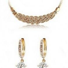 Set bijuterii -Casual Gold- placat aur 18 k, cristale cubic zirconia+CUTIUTA - Set bijuterii placate cu aur Firesq