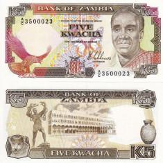 ZAMBIA 5 kwacha ND 1989 UNC!!!