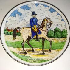 Farfurie decorativa de perete - diriginte de posta 1850 - Germania - Arta Ceramica