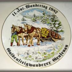Farfurie decorativa de perete Handarbeit - peisaj de iarna - Bavaria - Arta Ceramica