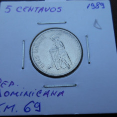 REPUBLICA DOMINICANA 5 CENTAVOS 1989 KM 69, America Centrala si de Sud, An: 1980