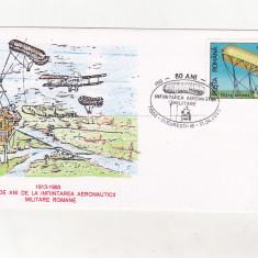 Bnk fil Aerofilatelie - plic ocazional - 80 ani aeronautica militara romana