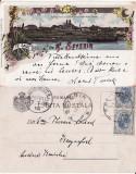 Salutari din Turnu Severin - Litografie 1898- Portul. Vapoare