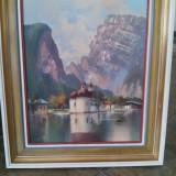 """Tablou (semnat) - """" Biserica sf Bartolomeu pe malul lacului Konig"""""""