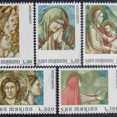 SAN MARINO 1975 - PICTURA MURALA 5 VALORI, NEOBLITERATE - SM 027