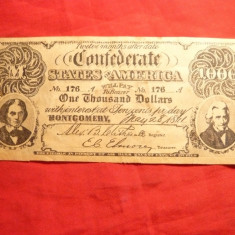 Bancnota 1000 Dolari 1861 State Confederate- Copie ulterioara -cota cat.=30mii$ - bancnota america