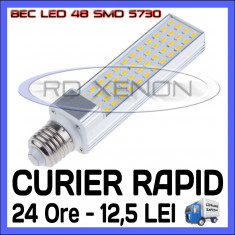 Bec ZDM LED APLICA E14, E27 - 48 SMD 5730 - ECH 90W, 890 LUMENI - ALB CALD, ALB RECE, Becuri LED, Rece (4100 - 4999 K)