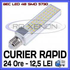 Bec ZDM LED APLICA E14, E27 - 48 SMD 5730 - ECH 90W, 890 LUMENI - ALB CALD, ALB RECE, Becuri LED