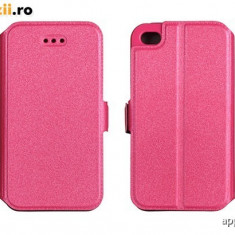 Husa Microsoft Lumia 435 Nokia Flip Case Inchidere Magnetica Pink - Husa Telefon Nokia, Roz, Piele Ecologica, Cu clapeta, Toc