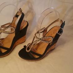 Sandale cu platforma - Sandale dama, Culoare: Negru, Marime: 35