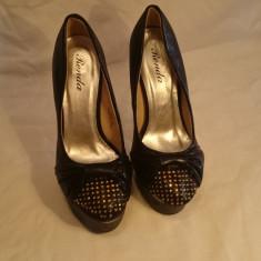 Pantofi cu platforma - Pantof dama, Culoare: Negru, Marime: Alta, Piele sintetica, Cu toc