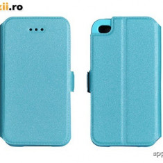 Husa Microsoft Lumia 435 Nokia Flip Case Inchidere Magnetica Blue - Husa Telefon Nokia, Albastru, Piele Ecologica, Cu clapeta, Toc